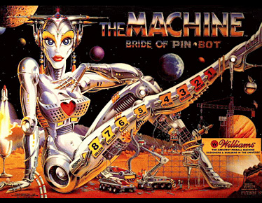 The Machine Bride of Pin-bot Backglass